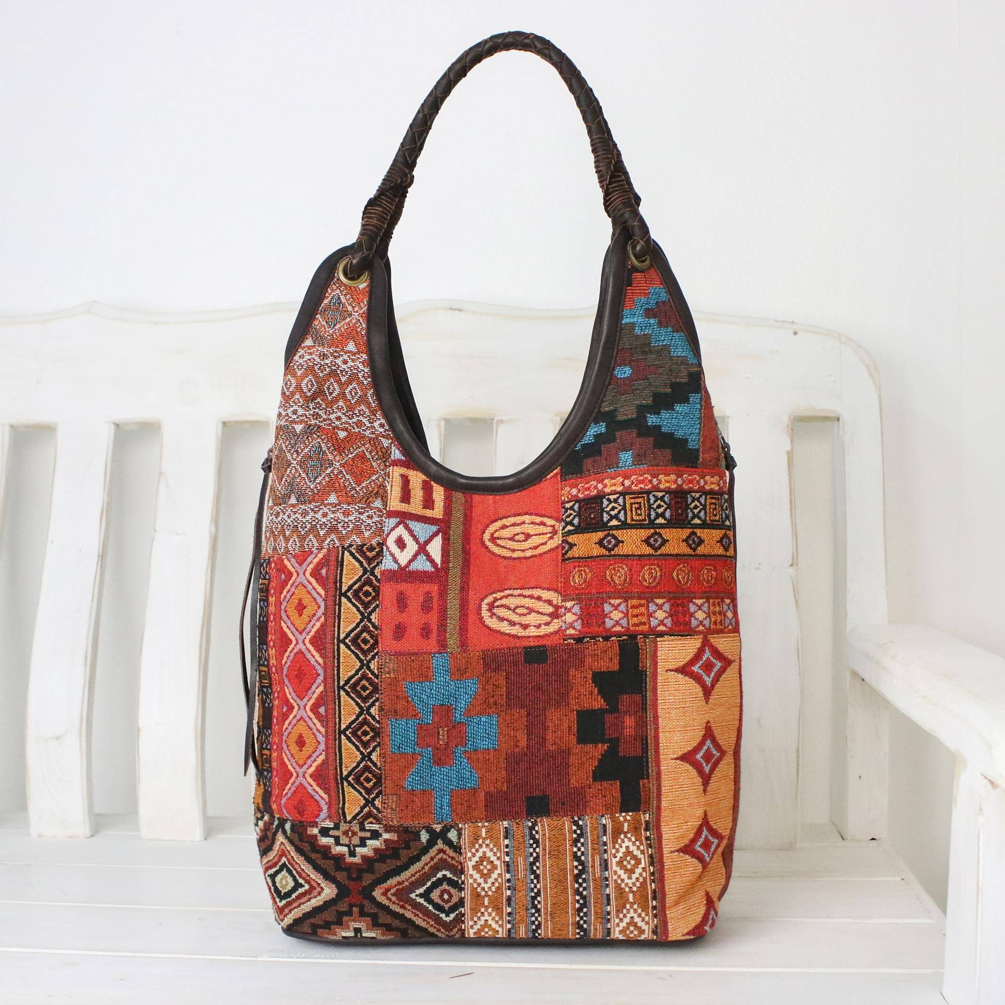 Handmade Cotton Blend Patchwork Red Hobo Bag Leather Trim Perfect In