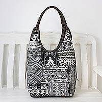 Leather accented cotton blend hobo bag, 'Perfect Patchwork in Black' - Handmade Cotton Blend Patchwork Black Hobo Bag Leather Trim