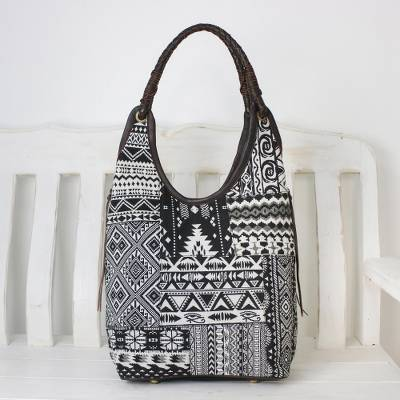 48265c76f2 Handmade Cotton Blend Patchwork Black Hobo Bag Leather Trim ...