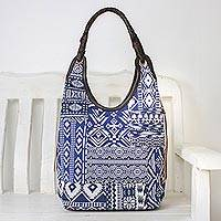 Leather accented cotton blend hobo bag, 'Perfect Patchwork in Blue' - Handmade Cotton Blend Patchwork Blue Hobo Bag Leather Trim