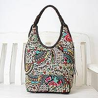 Featured review for Leather accented cotton blend hobo bag, Perfect Patchwork in Multicolor