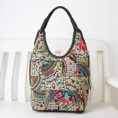 Leather accented cotton blend hobo bag, 'Perfect Patchwork in Multicolor' - Handmade Cotton Blend Patchwork Multi Hobo Bag Leather Trim