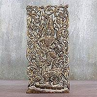 Teakwood wall relief panel, 'Singha' - Hard Carved Teakwood Hindu Wall Relief Panel from Thailand