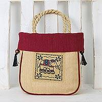 Cotton handle handbag, 'Graceful Elephant in Maroon' - Handmade Cotton Handle Handbag Elephant Magenta Bag Thailand