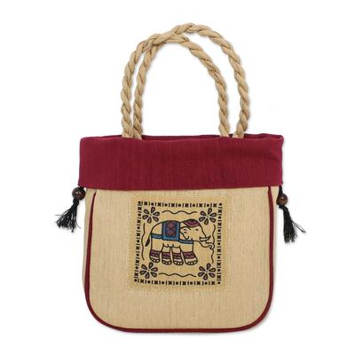 Handmade Cotton Handle Handbag Elephant Magenta Bag Thailand