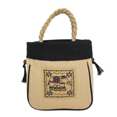 Handmade Cotton Handle Handbag Elephant Black Bag Thailand