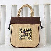 Cotton handle handbag, 'Happy Elephant' - Handmade 100% Cotton Elephant Handbag from Thailand