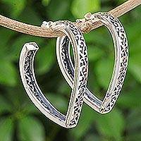 Sterling silver half-hoop earrings, 'Boundless Love' - Handmade Heart Shaped Sterling Silver Half-Hoop Earrings