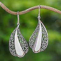 Sterling silver dangle earrings, 'Leafy Grandeur' - Handcrafted Sterling Silver Dangle Earrings from Thailand