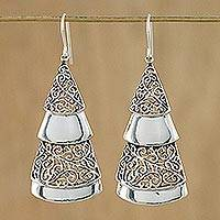 Sterling silver dangle earrings, 'Festive Grandeur' - Handmade Sterling Silver Tree Dangle Earrings from Thailand