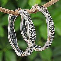 Sterling silver half-hoop earrings, 'Graceful Wave' - Handmade Sterling Silver Half-Hoop Earrings from Thailand