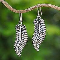 Sterling silver dangle earrings, 'Fern Allure' - Sterling Silver Leaf Dangle Earrings Handmade in Thailand
