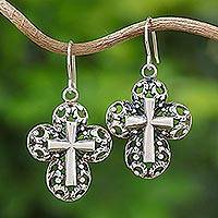 Sterling silver dangle earrings, 'Faithful Promise' - Sterling Silver Cross Dangle Earrings Handmade in Thailand
