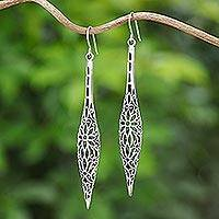 Sterling silver dangle earrings, 'Thai Elegance' - Sterling Silver Floral Dangle Earrings Handmade in Thailand