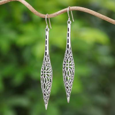Sterling Silver Dangle Earrings Thai Elegance Fl Handmade