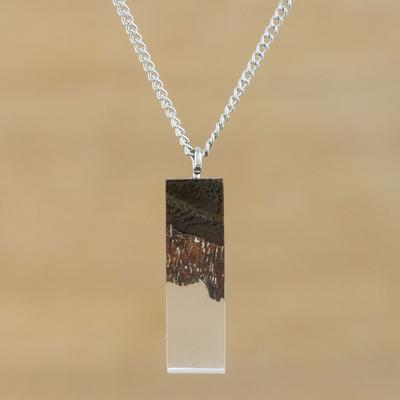 Novica Wood pendant necklace, Dusk Triangle