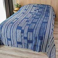 Cotton batik bedspread, 'Split Bamboo Lattice' (king) - Artisan Made Indigo Batik 100% Cotton Bedspread (King)