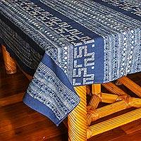 Cotton batik tablecloth, 'Hmong Lace' (39x59) - Deep Blue Batik Cotton Tablecloth from Thailand (39x59)