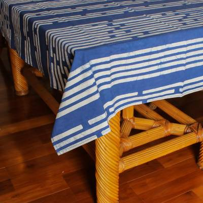 Cotton batik tablecloth, 'Bamboo Forest'  - Small Batik Cotton Tablecloth in Blue Print (39x59)