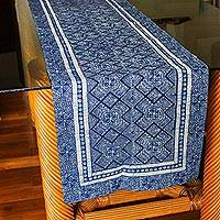 Cotton batik table runner, 'Hmong Energy' - Hand Stamped All Cotton Hill Tribe Style Table Runner