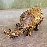 Wood statuette, 'Wary Rhino' - Raintree Wood Rhinoceros Statuette from Thailand