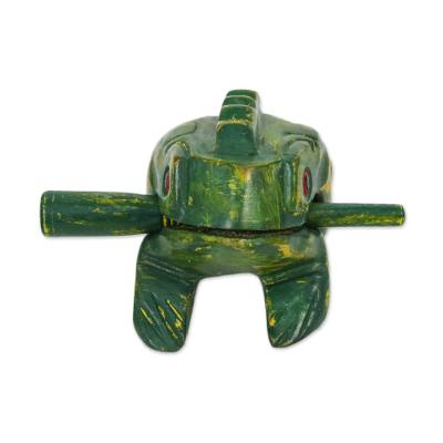 Wood percussion instrument, 'Jarujin Melody' (5.5 inch) - Green Thai Frog Wood Percussion Instrument (5.5 Inch)