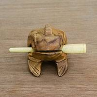 Wood percussion instrument, 'Tenasserim Melody' (5.5 inch) - Brown Thai Frog Wood Percussion Instrument (5.5 Inch)
