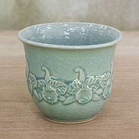 Celadon ceramic decorative bowl, 'Siam Orchid' - Elegant Light Blue Celadon Ceramic Decorative Bowl
