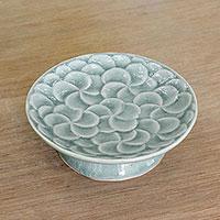 Celadon ceramic centerpiece, 'Blooming Plumeria' - Plumeria Motif Handmade Celadon Ceramic Centerpiece