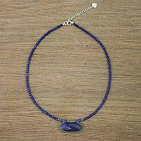 Quartz and lapis lazuli beaded pendant necklace, 'Shades of Blue'