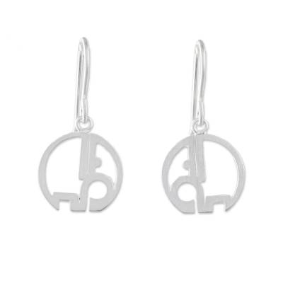 Round Sterling Silver Elephant Earrings from Thailand