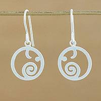 Sterling silver dangle earrings, 'Stellar Elephants' - Circular Sterling Silver Elephant Earrings from Thailand