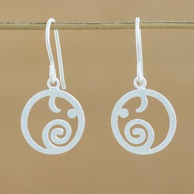 Novica Sterling silver dangle earrings, Round Elephants