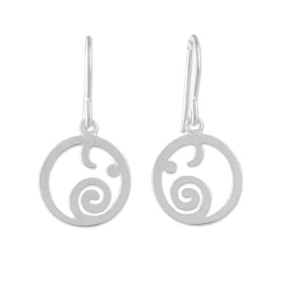 Sterling silver dangle earrings, 'Stellar Elephants' - Circular Sterling Silver Elephant Earrings from Thailand