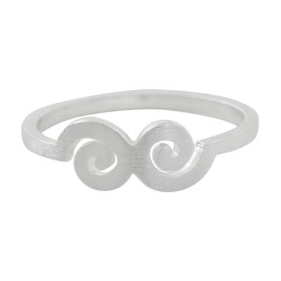 Spiral Motif Sterling Silver Mid-Finger Ring from Thailand