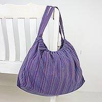 Cotton hobo bag, 'Striped Way in Blue' - Handmade 100% Cotton Striped Shoulder Bag from Thailand