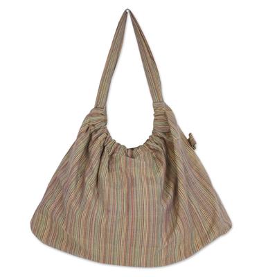Handmade 100% Cotton Striped Hobo Handbag from Thailand