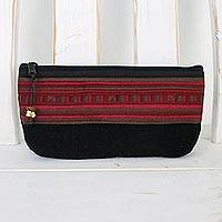 Cotton blend cosmetics case, 'Lisu Lisu in Wine' - Artisan Handmade Cotton Blend Red Cosmetics Case Thailand