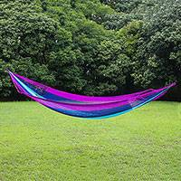 Rope hammock, 'Swaying at Midnight' (double) - Handmade Acrylic Yarn Double Outdoor Hammock Thailand
