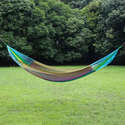 Rope hammock, 'Swaying at Midnight in Blue' (double) - Handmade Acrylic Blue Yarn Double Outdoor Hammock