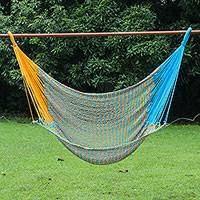 Cotton rope hammock swing, 'Time to Relax in Blue' (single) - Handmade Cotton Rope Single Hammock Swing