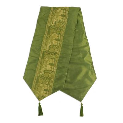 Green Elephant Brocade Bed Runner with Tassels from Thailand