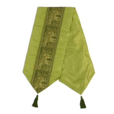 Green and Gold Brocade Bed Runner with Elephants and Tassels