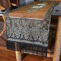 Brocade table runner, 'Elephant Celebration' - Handmade Fringe Elephant Brown and Gold Table Runner