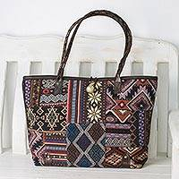 Leather accented cotton blend shoulder bag, 'Geometric Patchwork' - Handmade Cotton Blend Geometric Design Patchwork Handbag