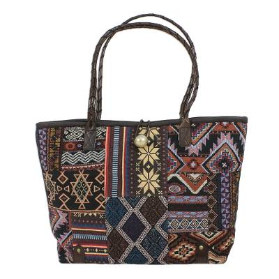 Novica Leather accented cotton blend shoulder bag, Chiang Mai Patchwork in Blue