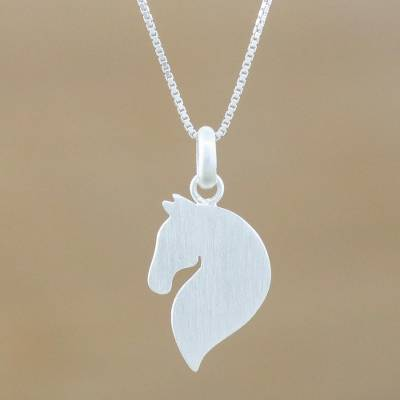 8a3481b3d Sterling silver pendant necklace, 'Equine Grace' - Sterling Silver Horse  Pendant Necklace from