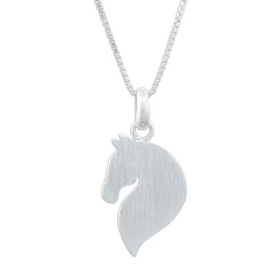 Sterling silver pendant necklace, 'Equine Grace' - Sterling Silver Horse Pendant Necklace from Thailand