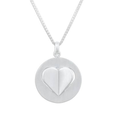 Sterling silver pendant necklace, 'Open Your Heart' - Sterling Silver Heart Pendant Necklace from Thailand