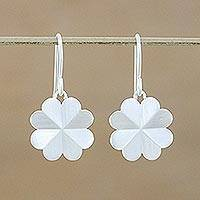 Sterling silver dangle earrings, 'Clover Love' - Handmade Thai Sterling Silver Floral Heart Dangle Earrings